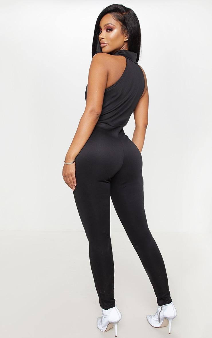 Shape Black Binding Detail High Neck Jumpsuit  2