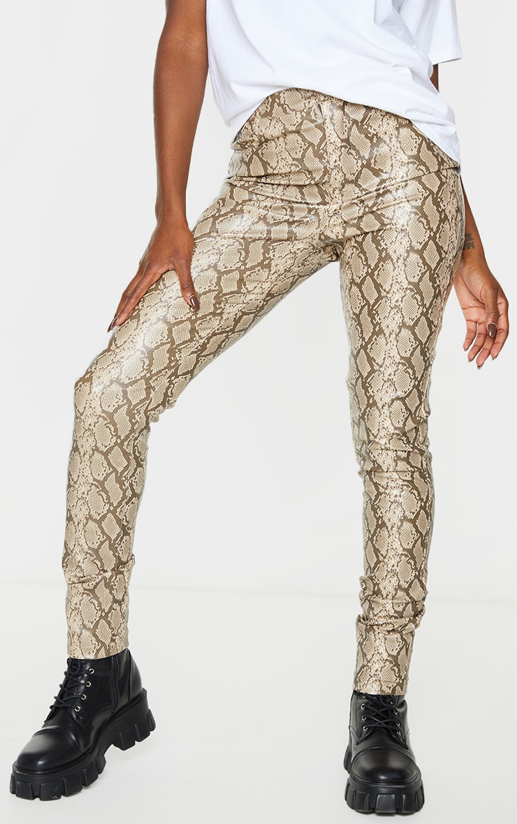 Stone Snake Faux Leather Skinny Pants 2