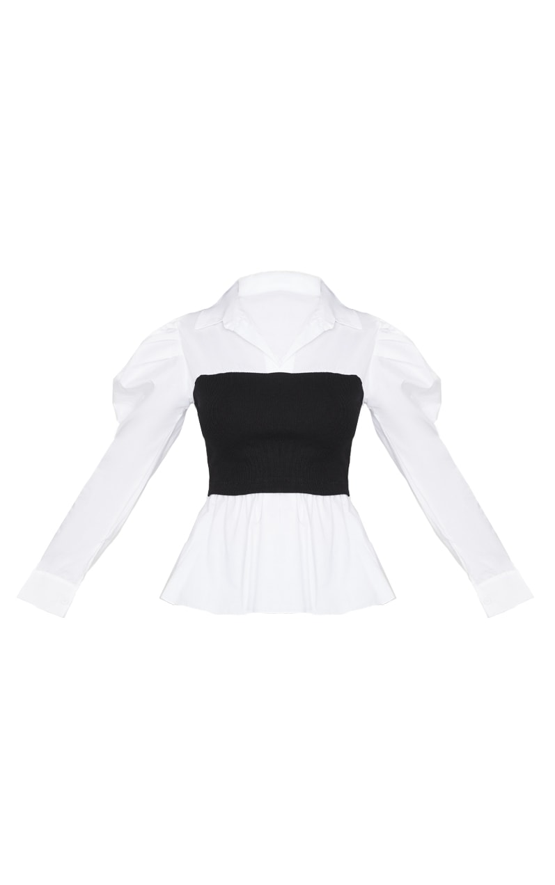 Black Rib Bust Panel White Puff Sleeve Shirt 5