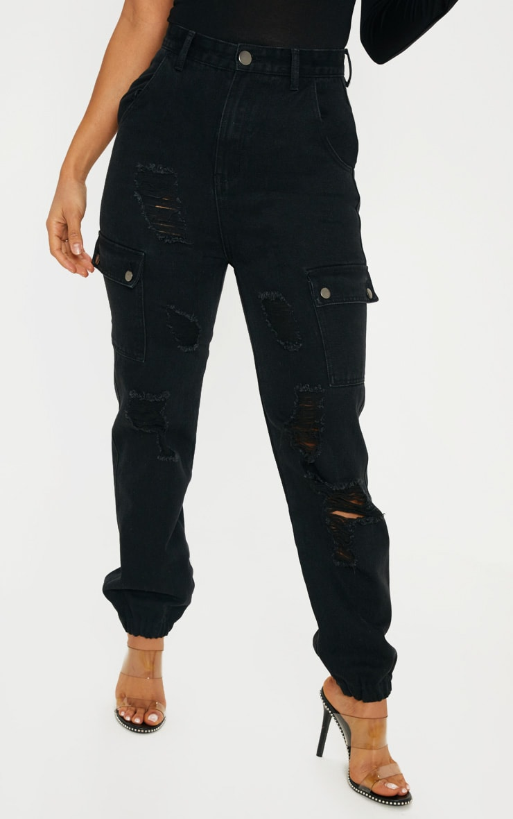 Black Distressed Cargo Pocket Jeans 2