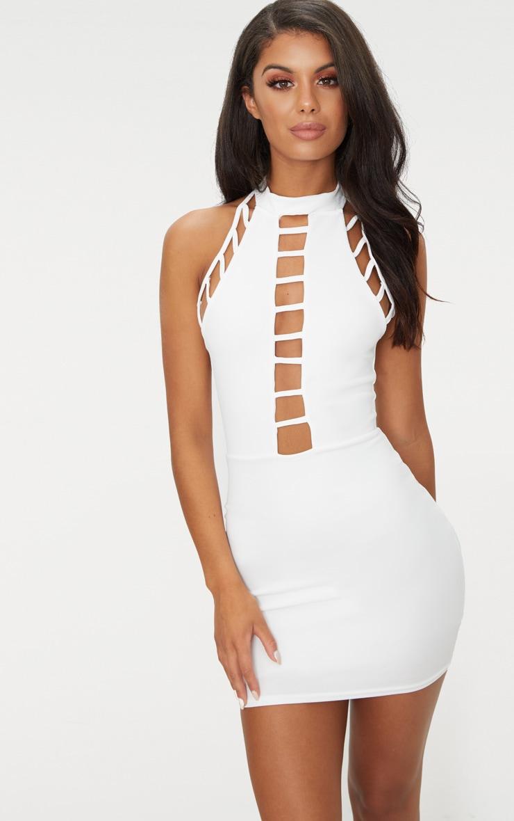 White High Neck Lattice Detail Bodycon Dress 1