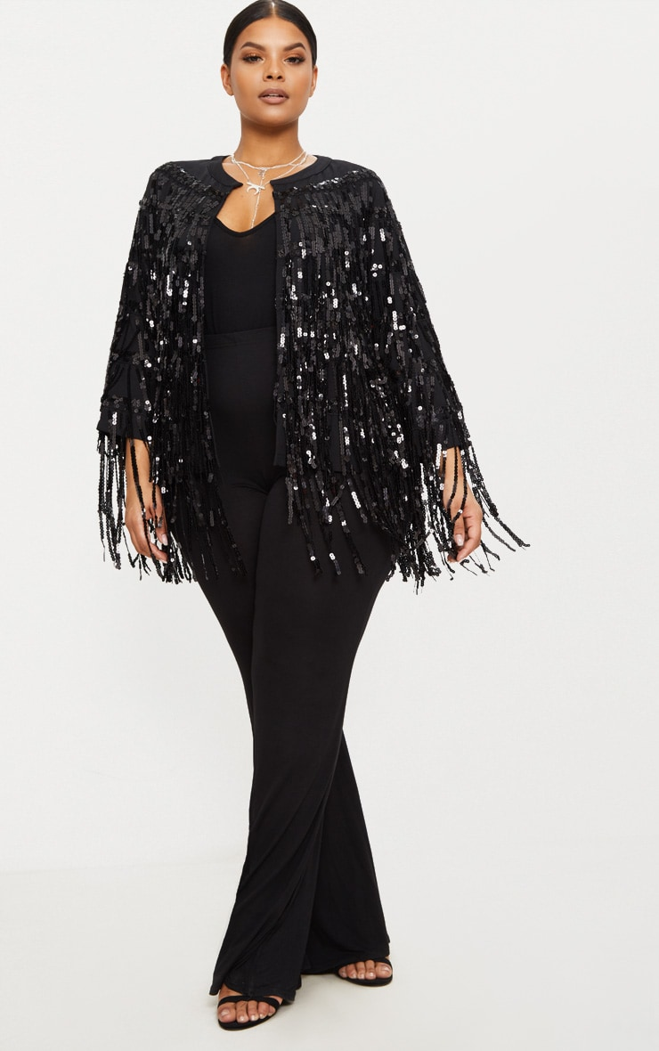 Plus Black Sequin Fringed Jacket 5