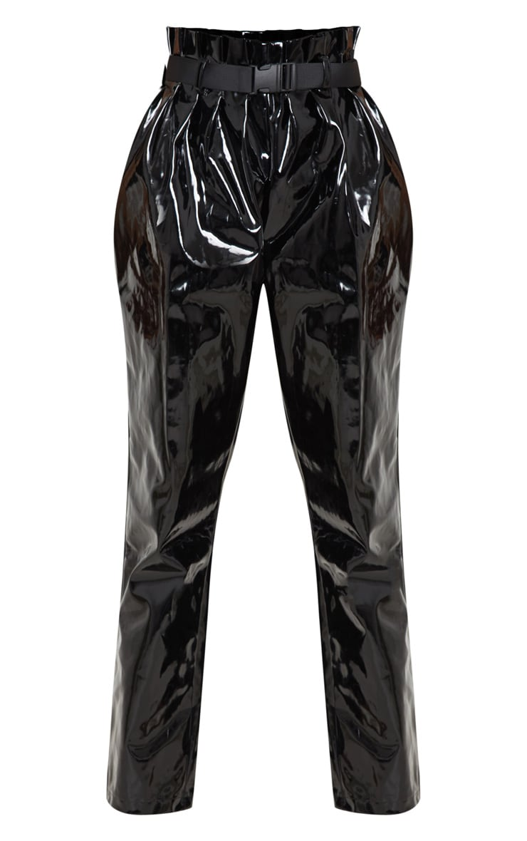 Black Vinyl Belted Peg Leg Pants  3