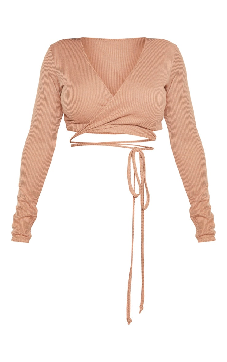 Shape Camel Ribbed Long Sleeve Wrap Waist Crop Top 3