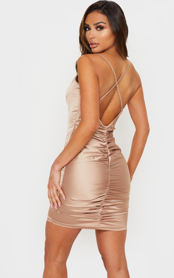 Nude Stretch Satin Cup Detail Bodycon Dress 1