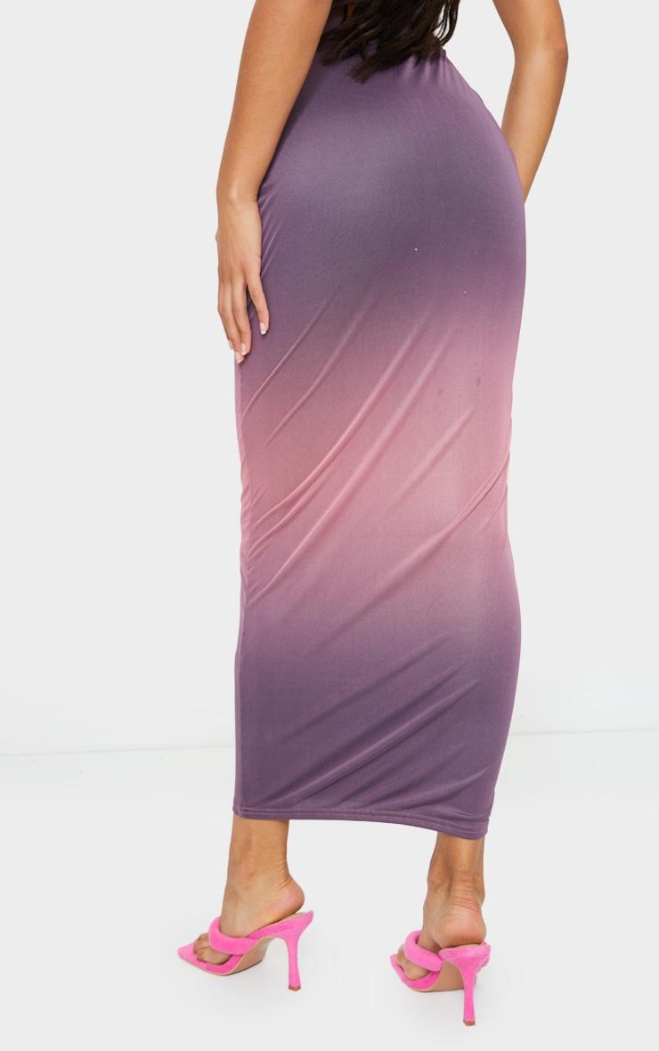 Mauve Mesh Overlay Midaxi Skirt 3