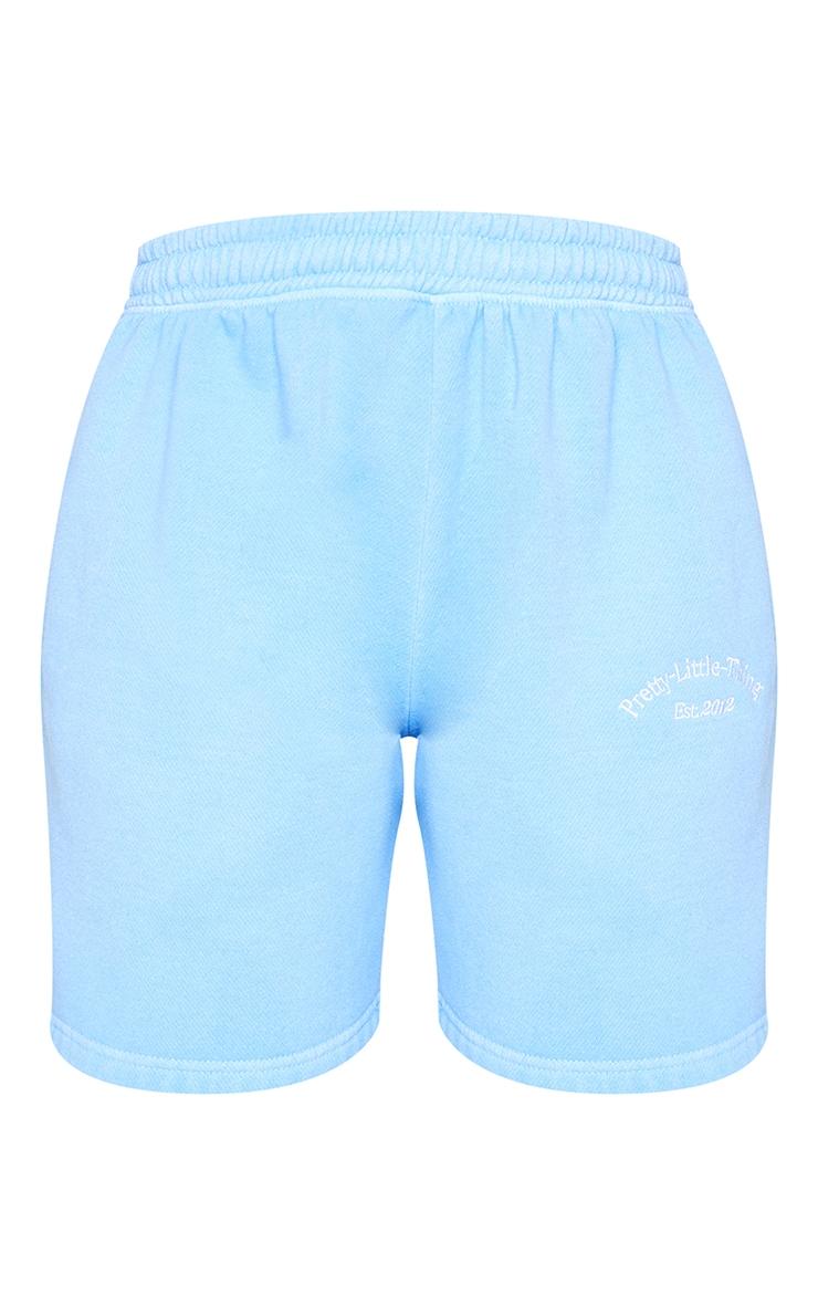 PRETTYLITTLETHING Blue Washed Sweat Shorts 6