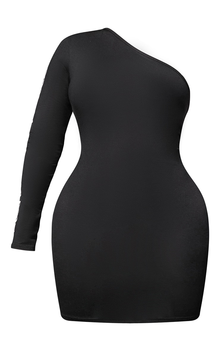 PRETTYLITTLETHING Shape Black One Shoulder Bodycon Dress 5