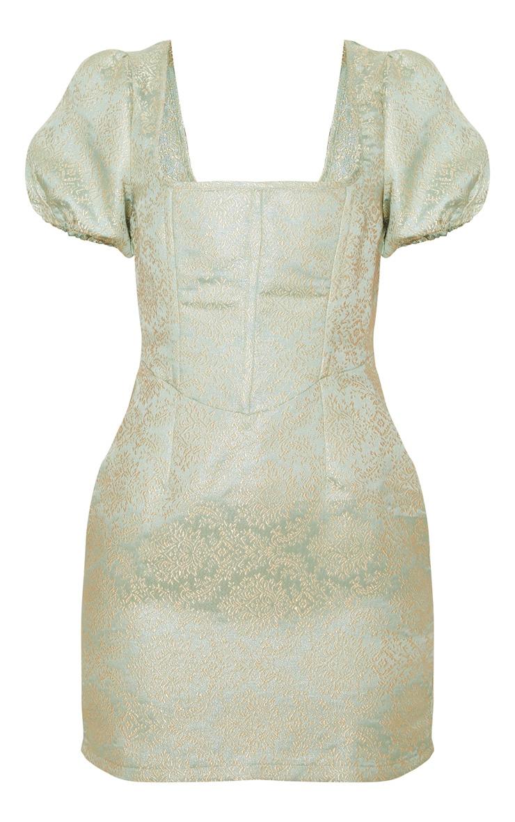 Mint Jacquard Short Sleeve Square Neck Bodycon Dress 3