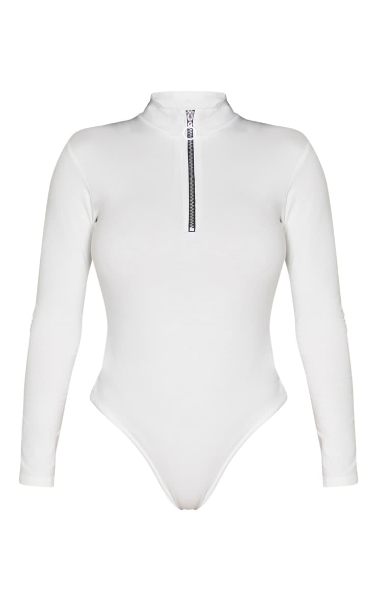 Shape Cream Cotton Zip High Neck Long Sleeve Bodysuit 3