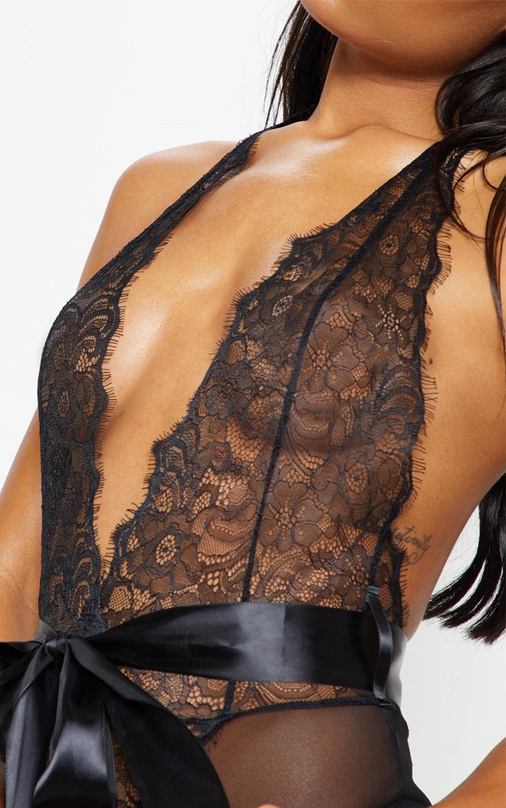 Black Lace Tie Waist Body 6