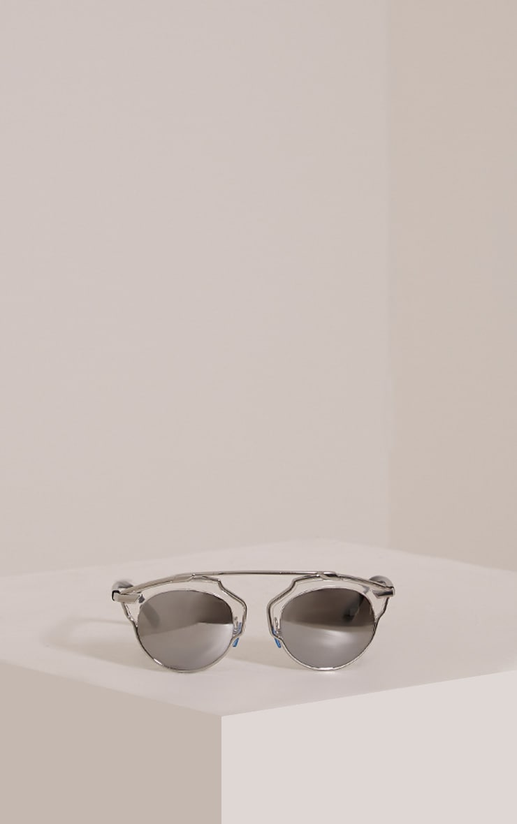 Kizzi Silver Cut Out Frame Mirrored Sunglasses 3