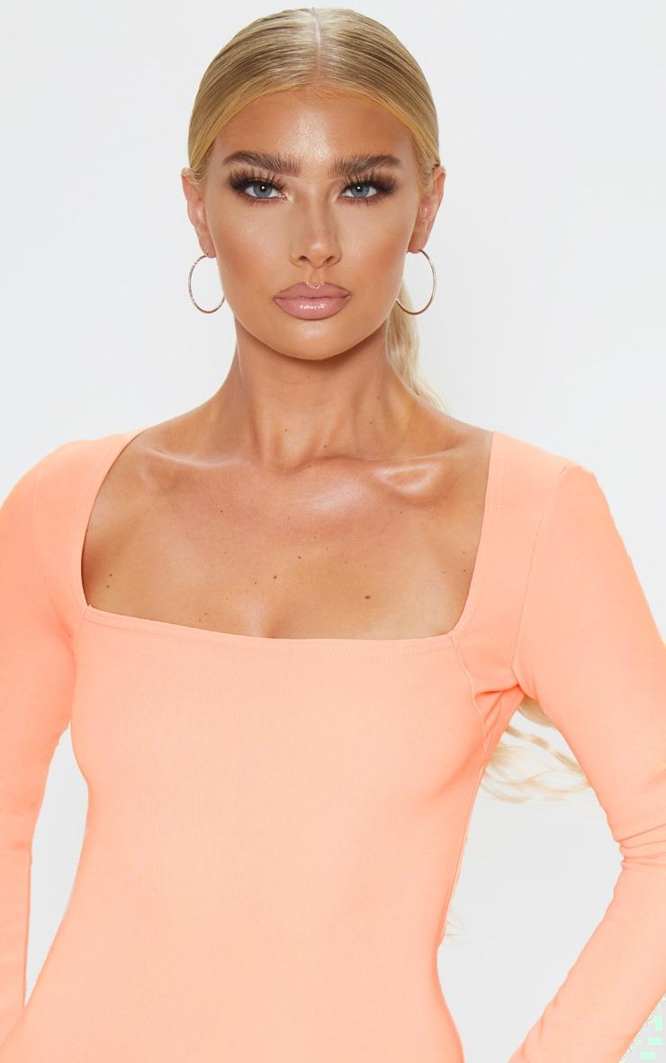 Peach Bandage Rib Long Sleeve Square Neck Bodycon Dress 5