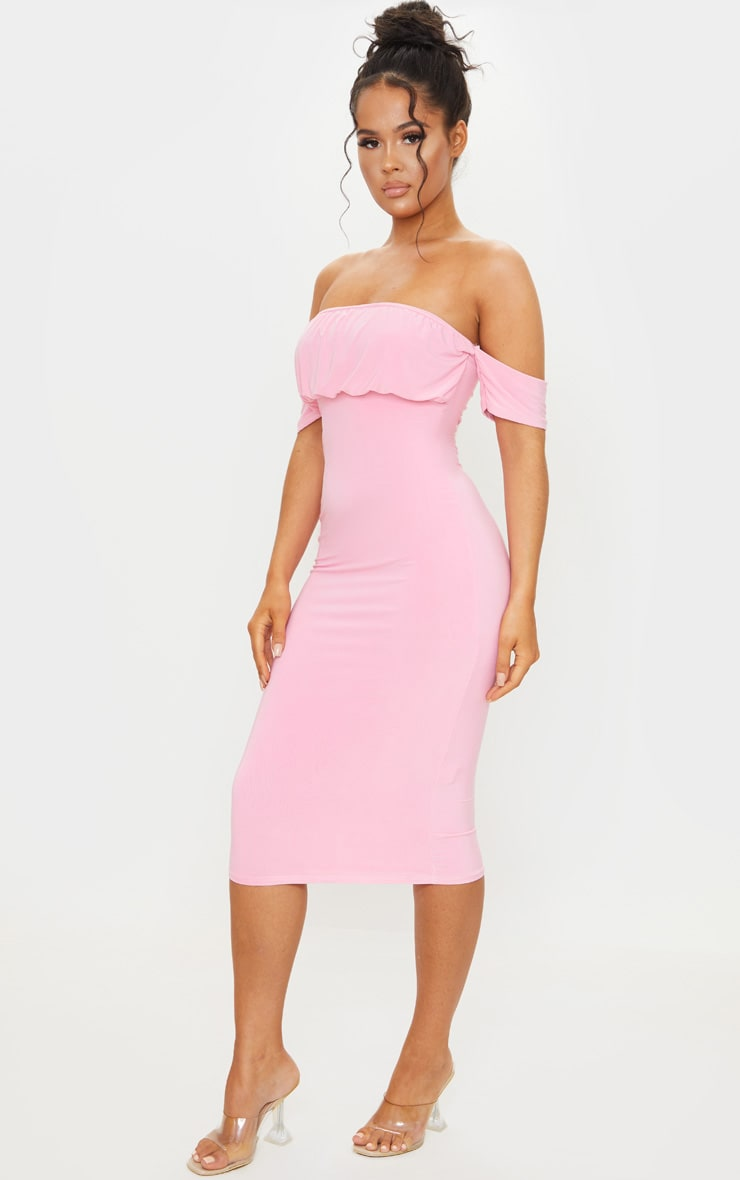 Pink Slinky Bardot Ruched Bust Midi Dress 3