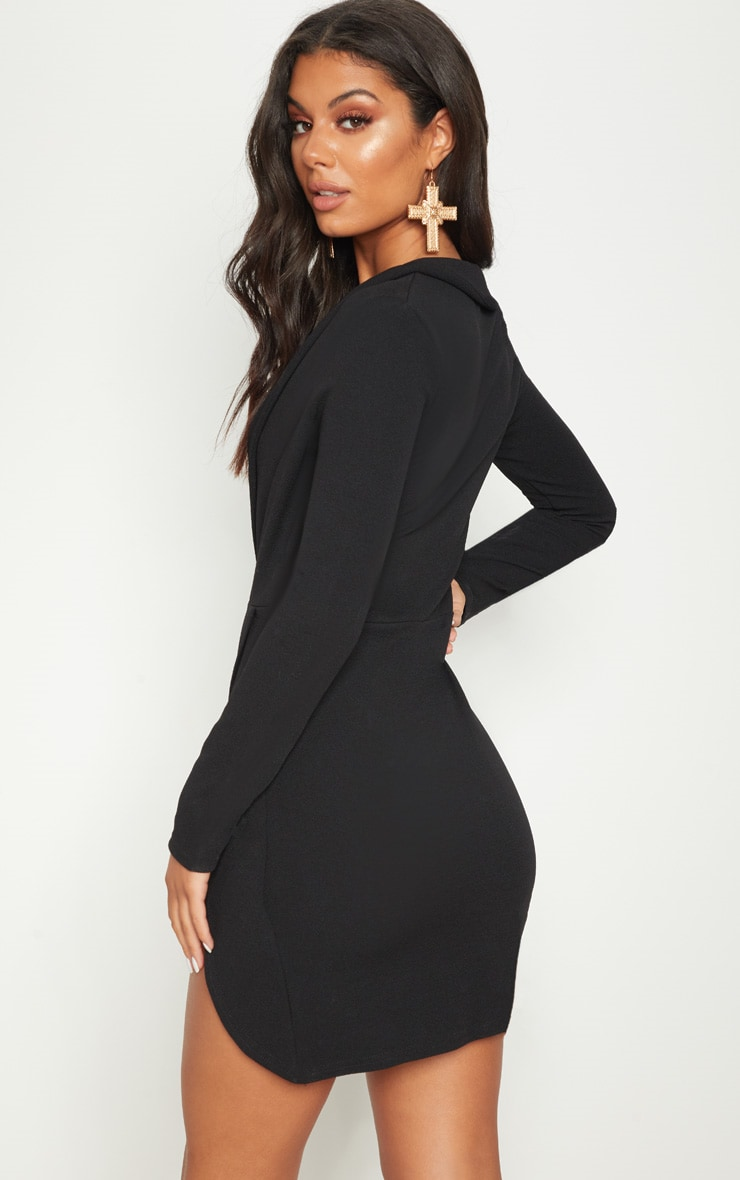 Black Lace Insert Blazer Dress  2