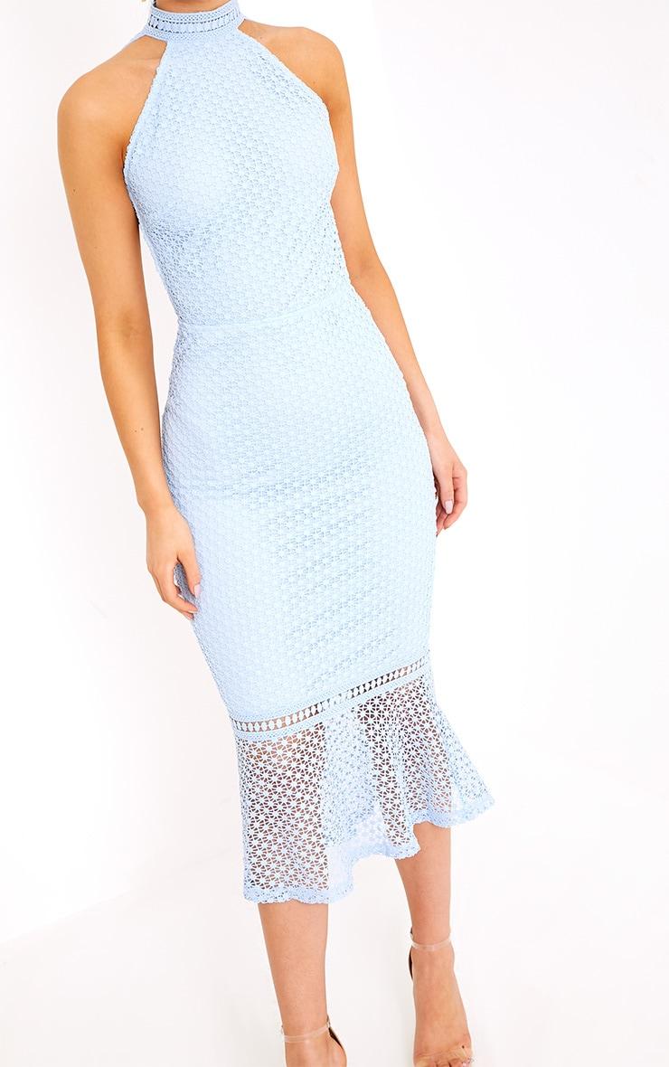 Kymmie Dusty Blue Lace High Neck Midi Dress  5