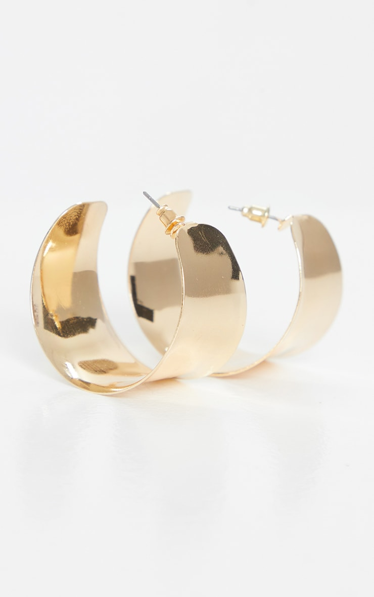 Gold Small Chunky Hoop Earrings 1