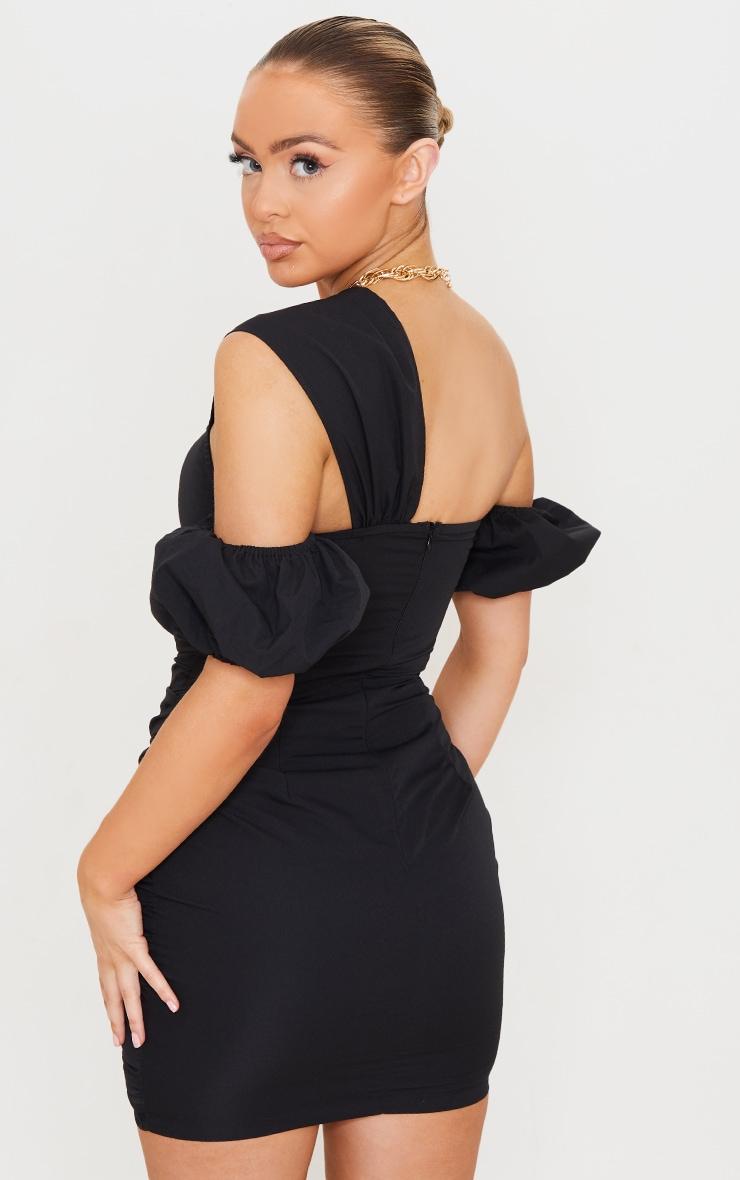 Black Woven Ruched Bardot Detail Bodycon Dress 2