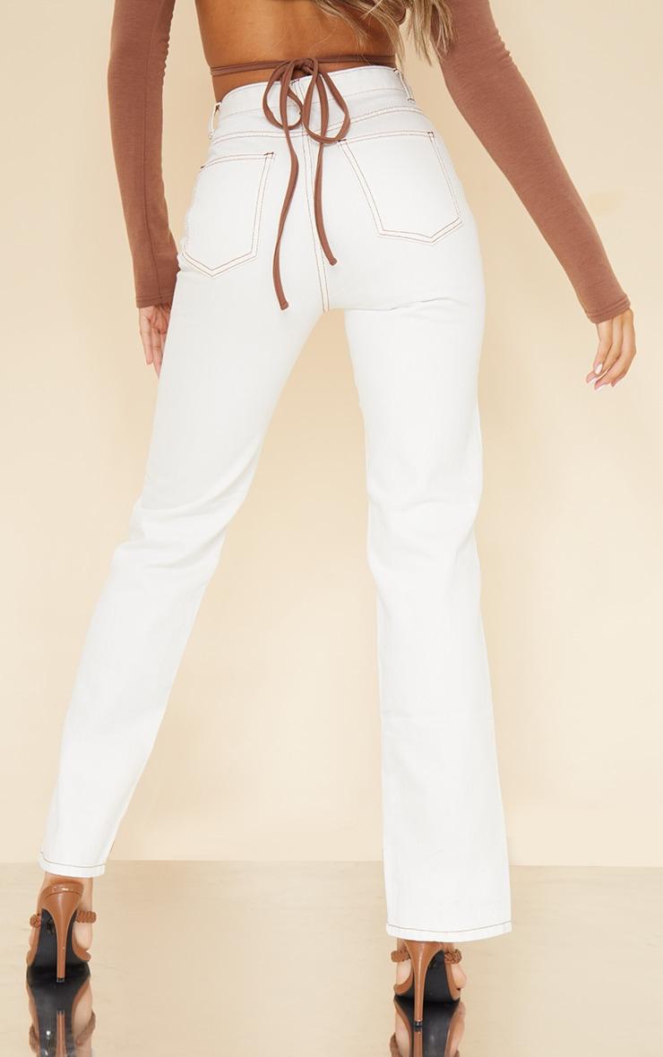 Off White Tobacco Stitch Seam Detail Split Front Jeans 3