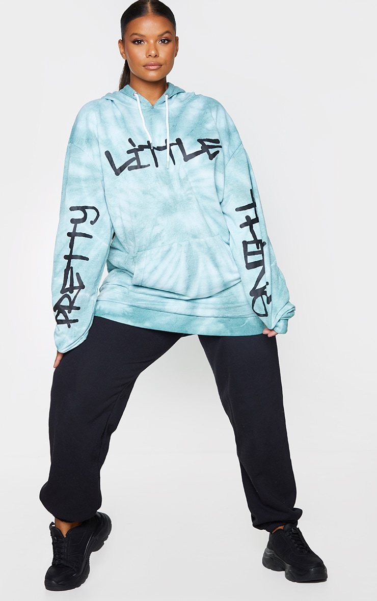 PRETTYLITTLETHING Plus Blue Tie Dye Grafitti Hoodie 3
