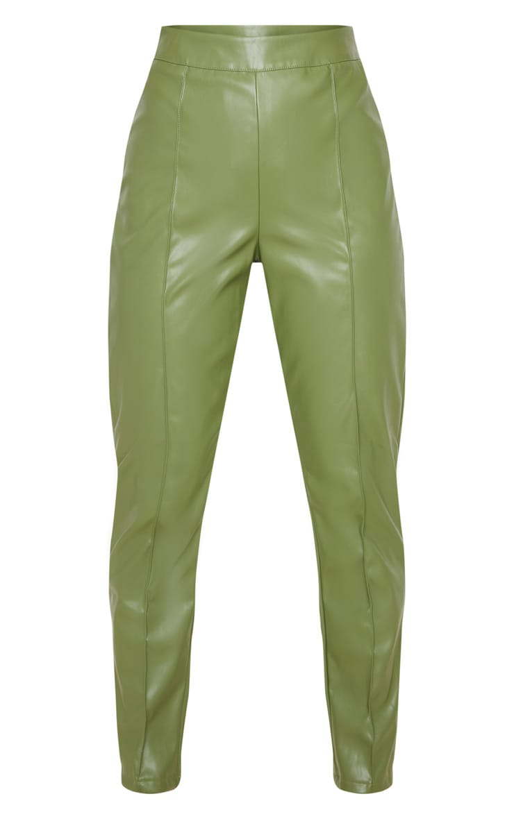 Petite Khaki Seam Detail PU Straight Pants 3