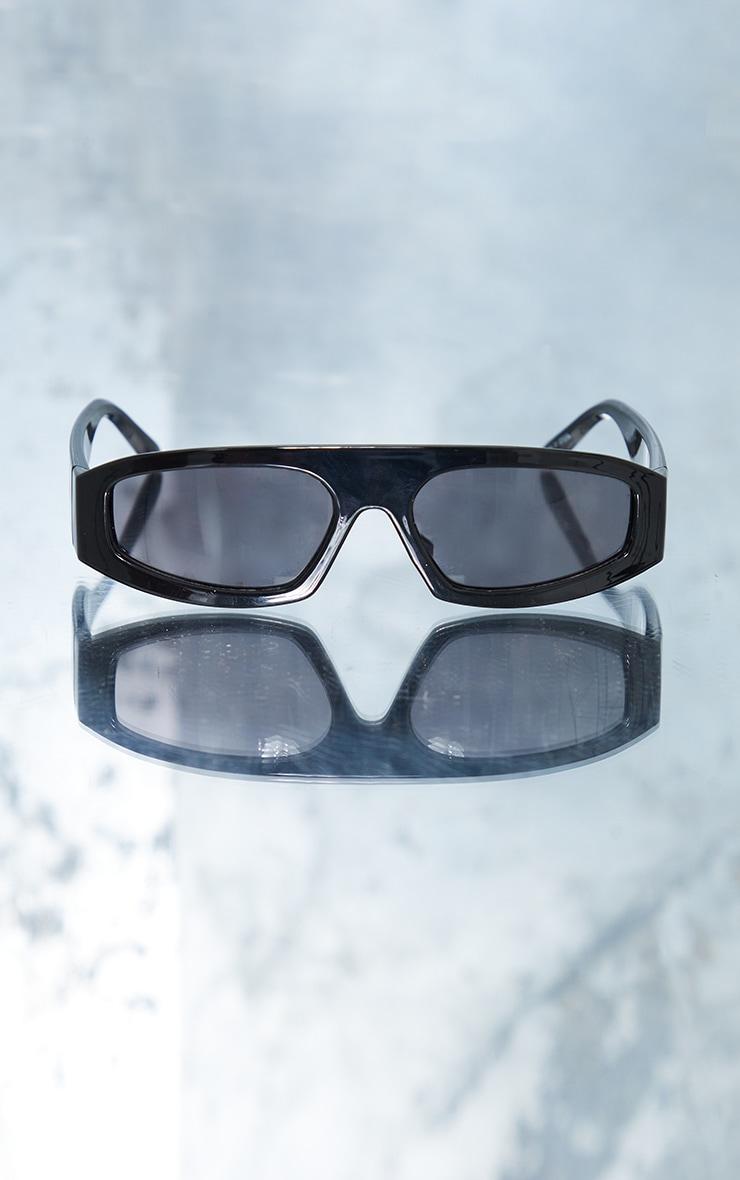 PRETTYLITTLETHING Black Slime Lime Square Frame Sunglasses 3