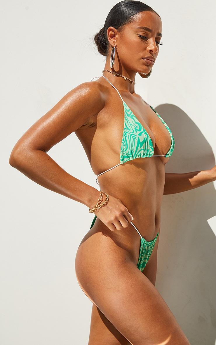 Green Swirl Print Tanga Bikini Bottoms 2