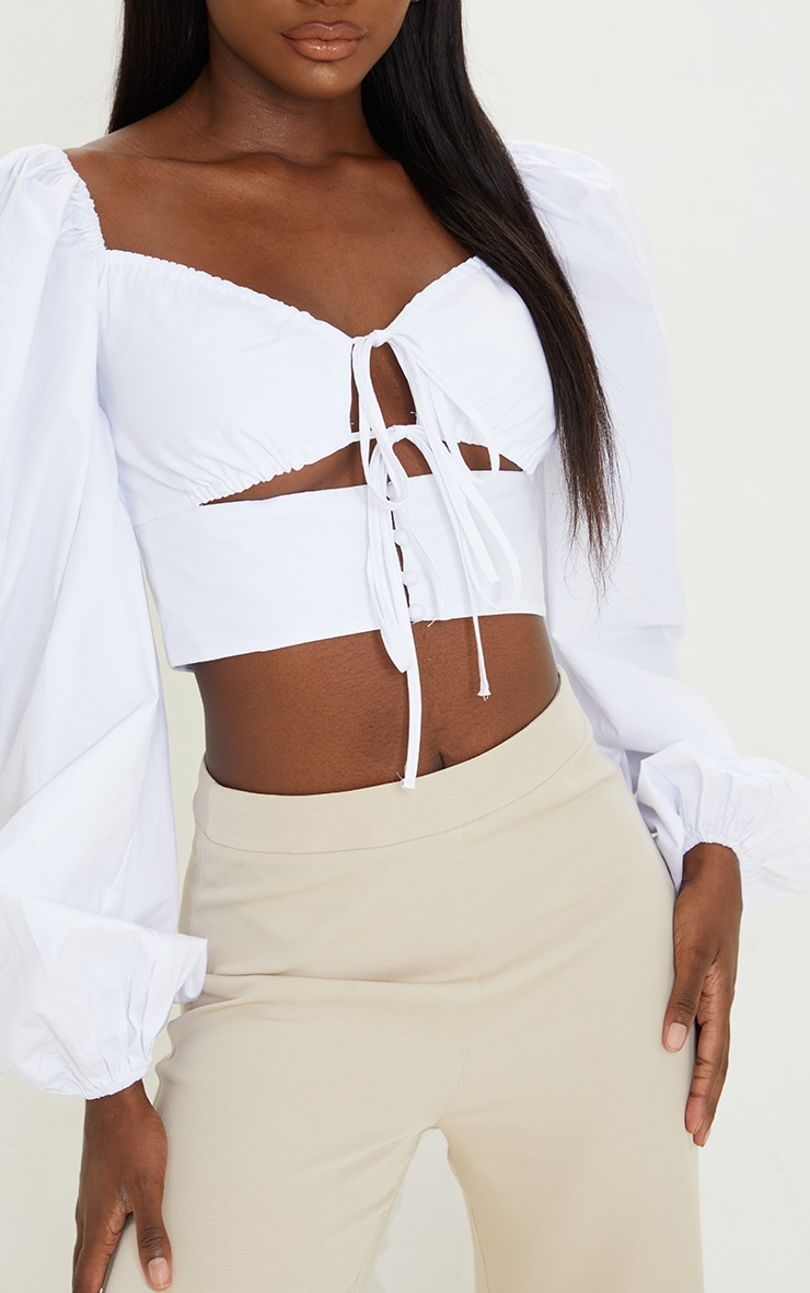 Tall White Cut Out Tie Front Bardot Cropped Blouse 4