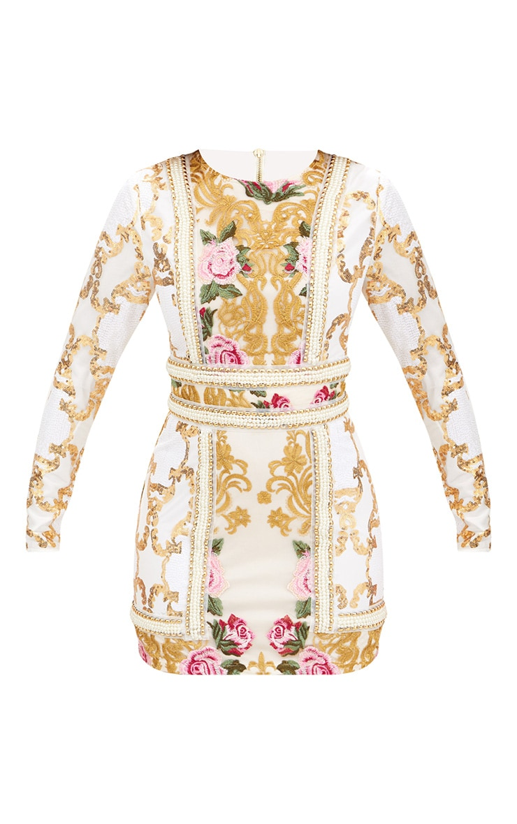 Premium White Embroidered Long Sleeve Pearl Trim Bodycon Dress  4