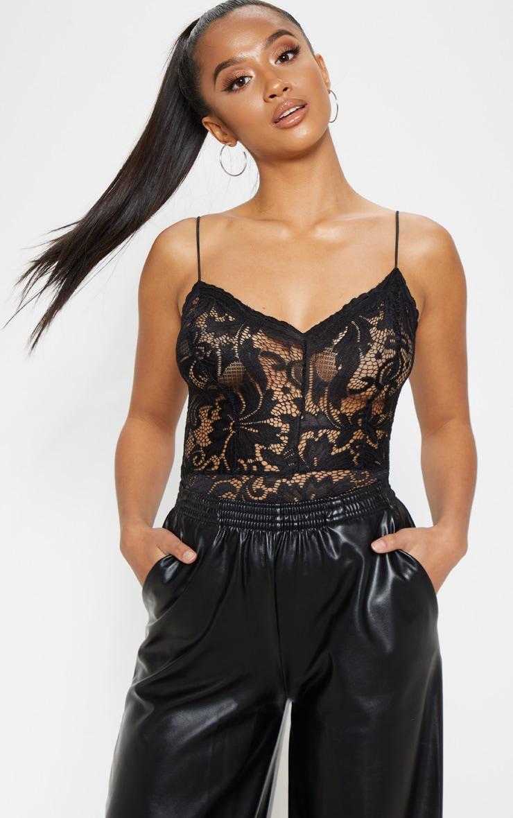 Petite Black  Sheer Lace Bodysuit 1