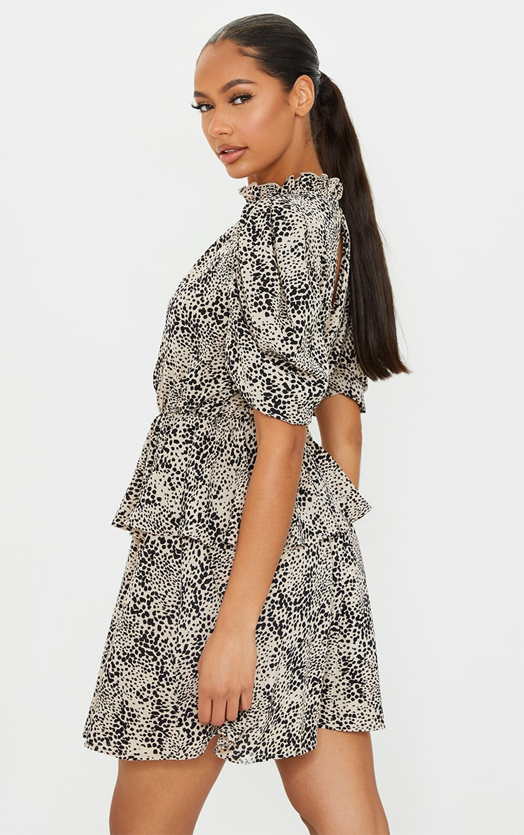 Stone Dalmatian Frill Neck Puff Sleeve Skater Dress 2
