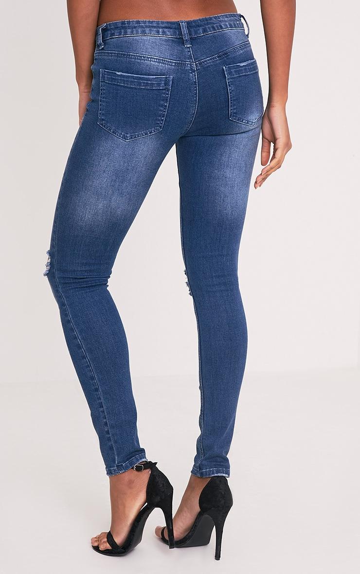 Adrienne Blue Distressed Skinny Jean 3