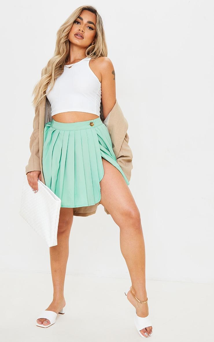 Petite Sage Green Button Detail Tennis Skirt 1