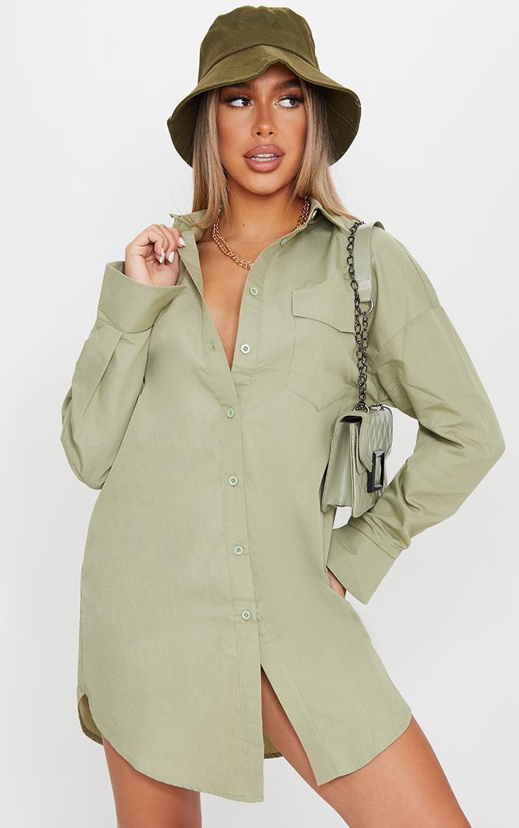 Sage Green Bell Cuff Detail Oversized Shirt Dress 1