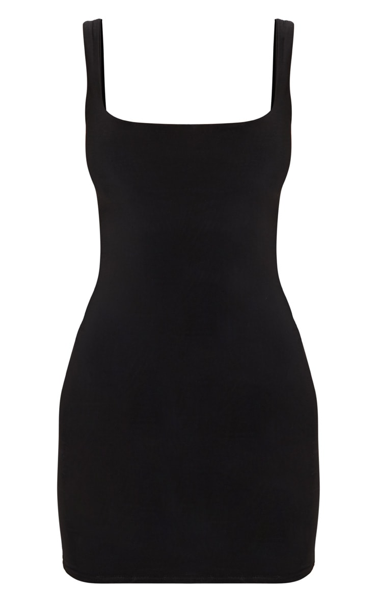 Black Second Skin Slinky Scoop Neck Bodycon Dress 3