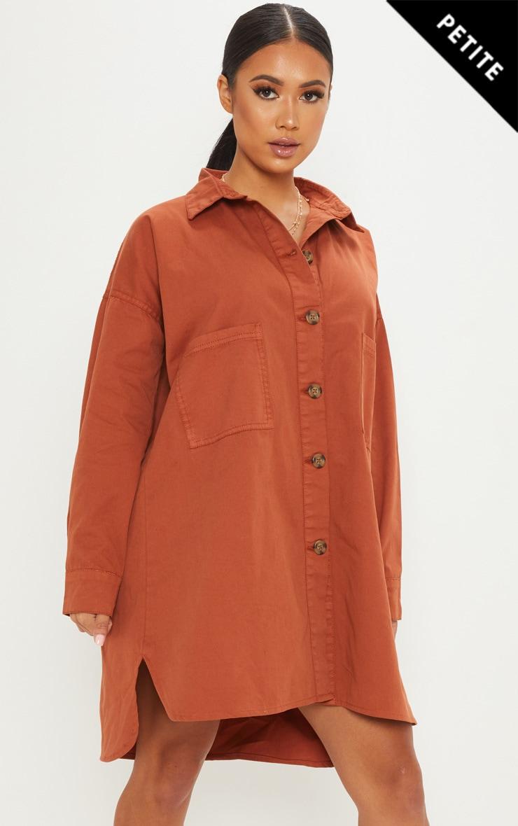 Petite Rust Tortoise Button Oversized Denim Shirt Dress by Prettylittlething