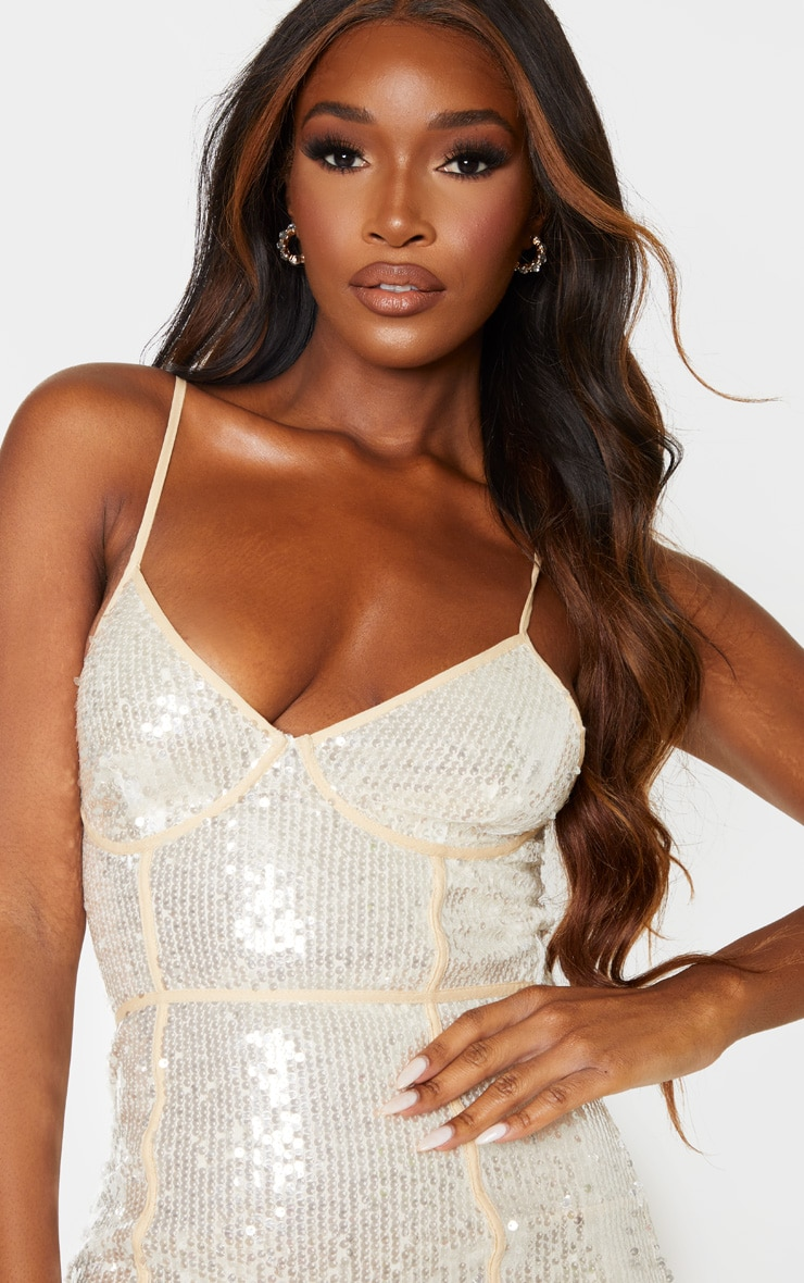 Nude Sequin Binding Detail Strappy Midi Dress 5