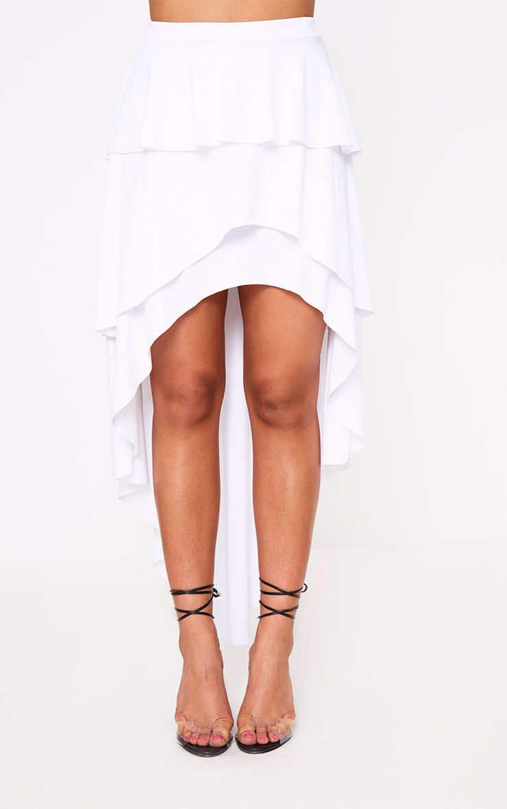 White High Low Tiered Maxi Skirt 2