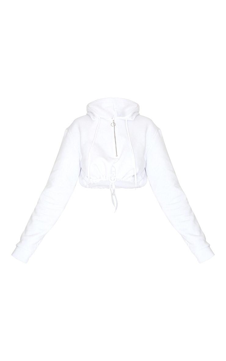 White Cropped Drawstring Zip Hoodie 5