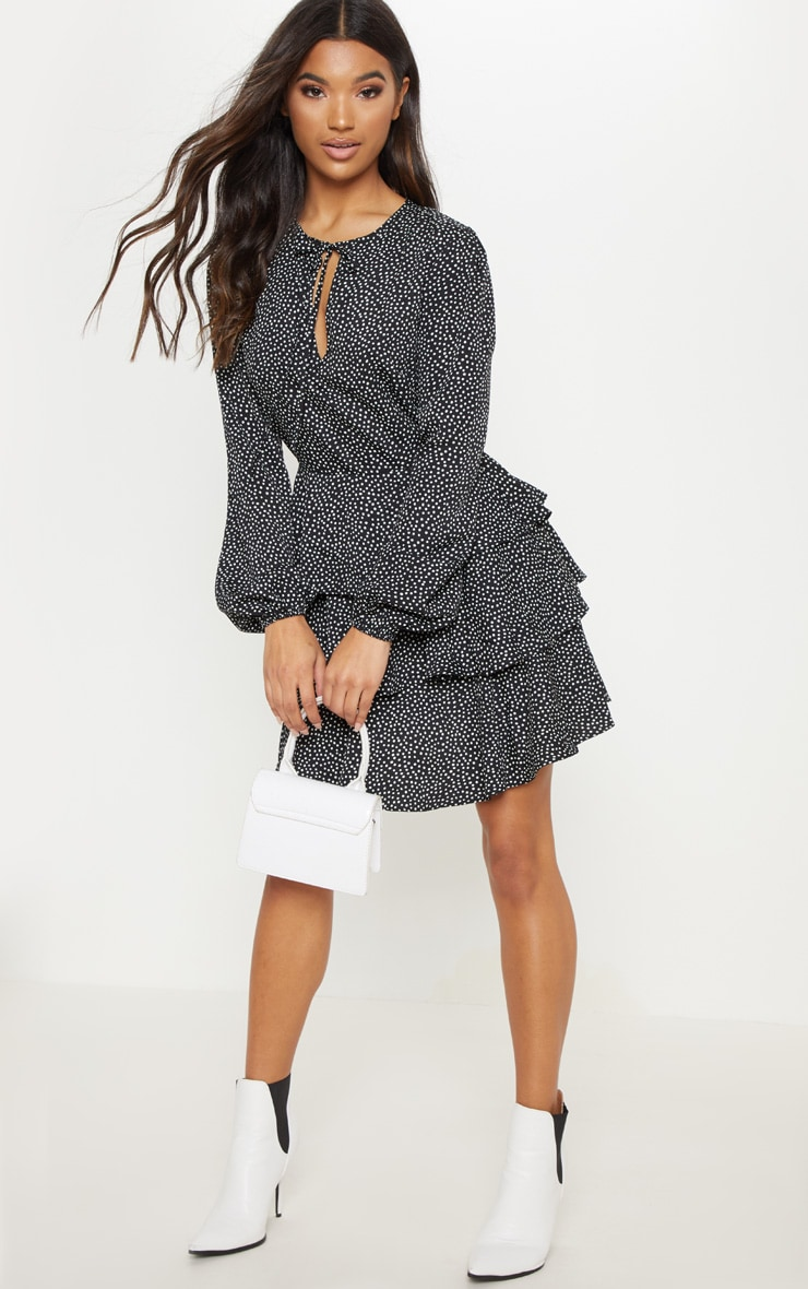 Black Polka Dot Layered Frill Tie Neck Smock Dress 4
