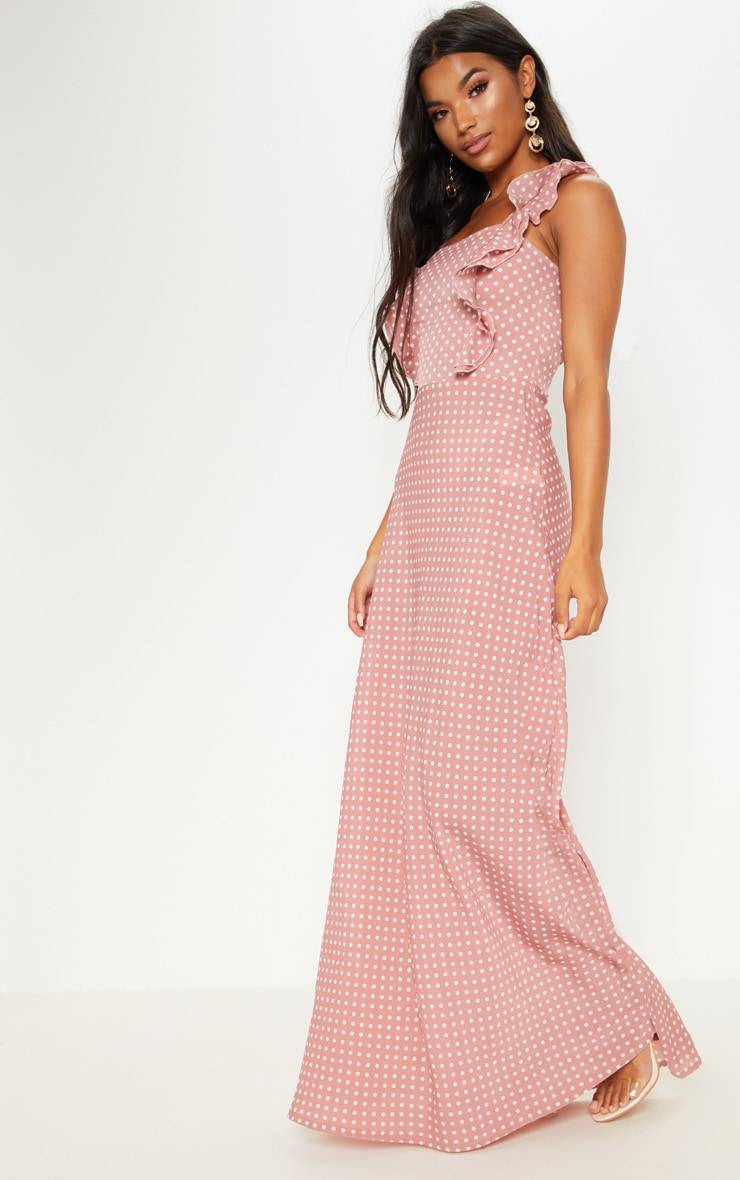 Mauve Polka Dot Lace Up Back Maxi Dress 4