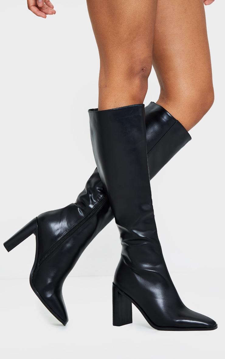 Black Pu High Flat Block Heel Knee Boot 3