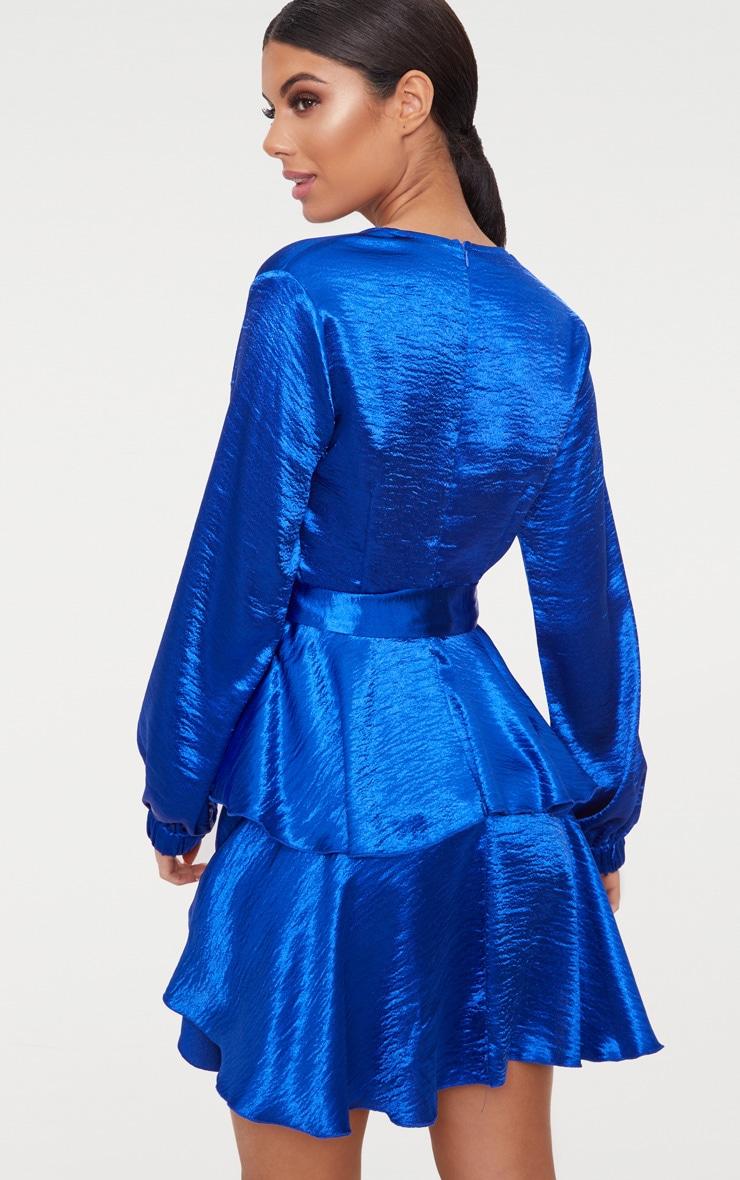 Cobalt Hammered Satin Plunge Layered Skater Dress 2