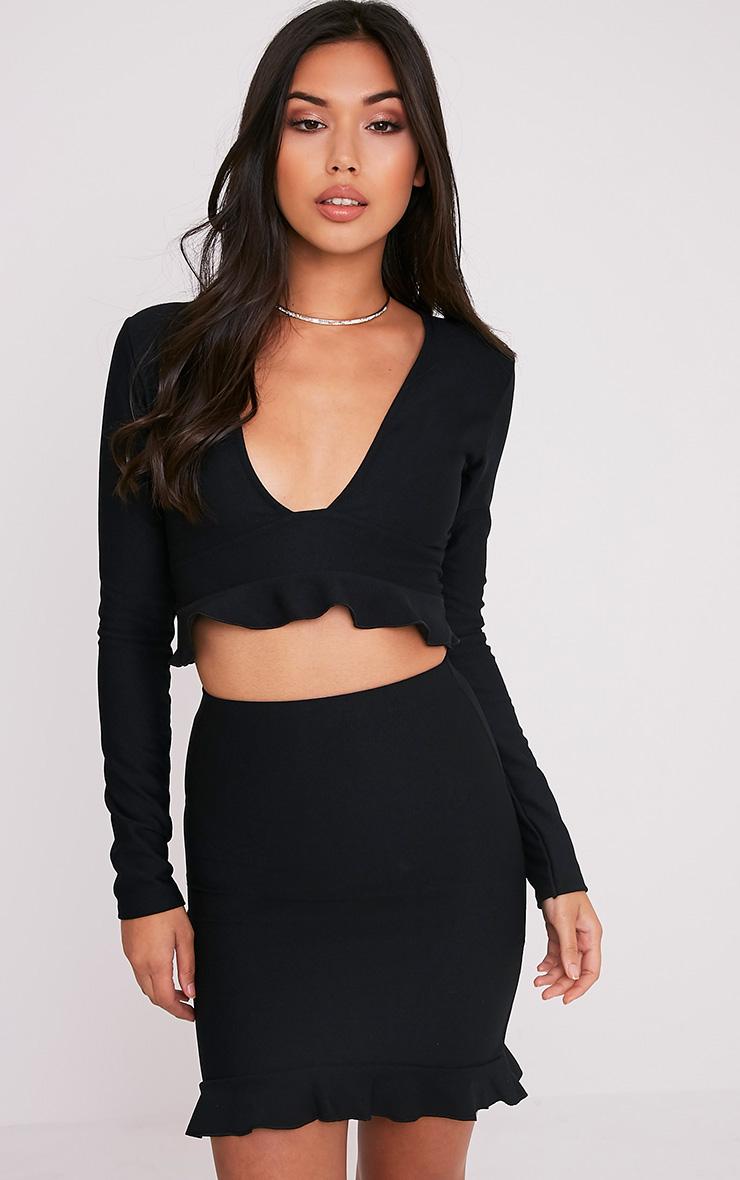 Britallia Black Frill Hem Mini Skirt 1