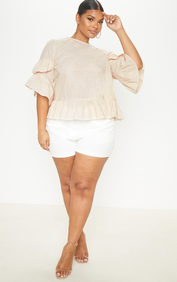 Plus Nude Woven Frill Sleeve Blouse 4