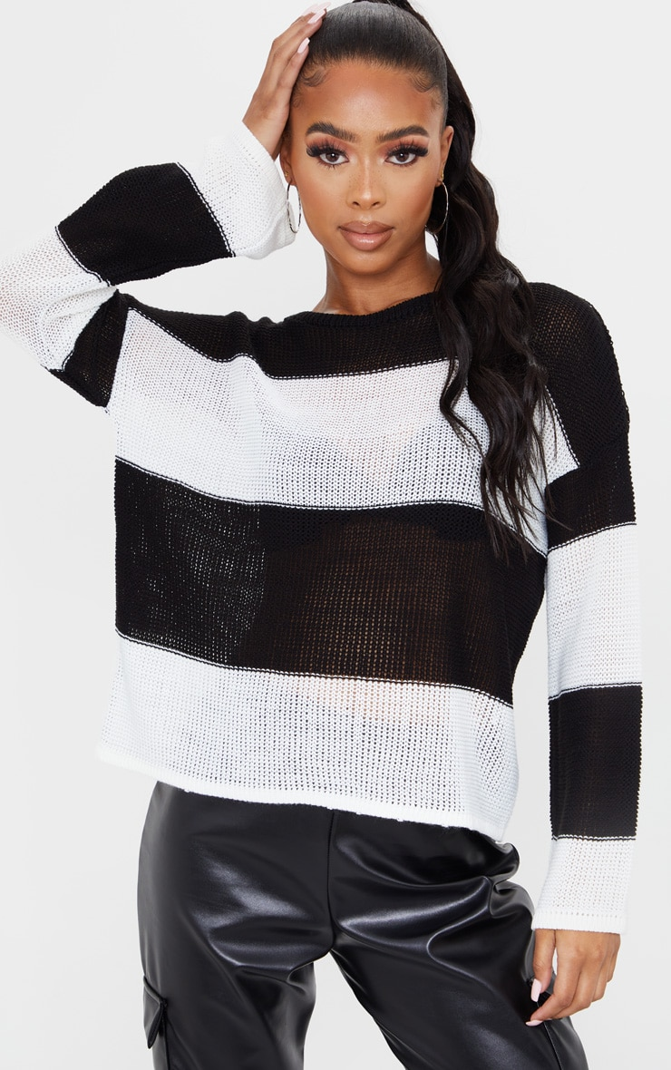 Black Fine Knit Stripe Jumper 1