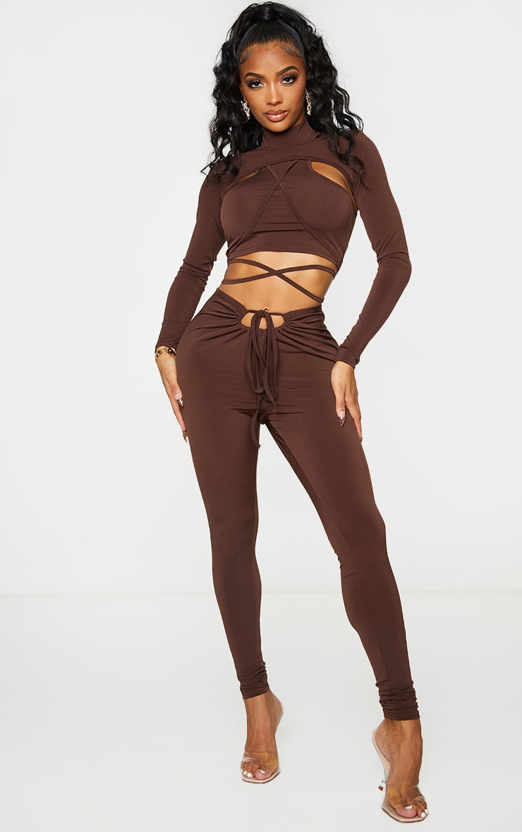 Shape Chocolate Brown Slinky Ruched Front Detail Leggings 1