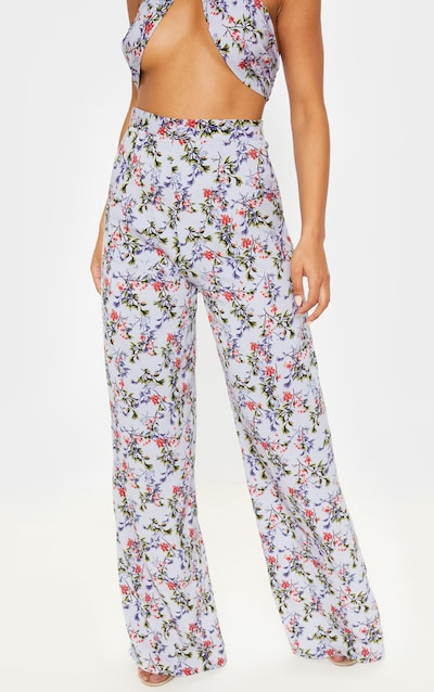 Dusty Blue Floral Print Wide Legged Trouser