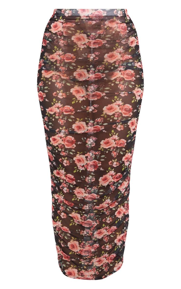 Black Floral Print Mesh Ruched Midaxi Skirt 3