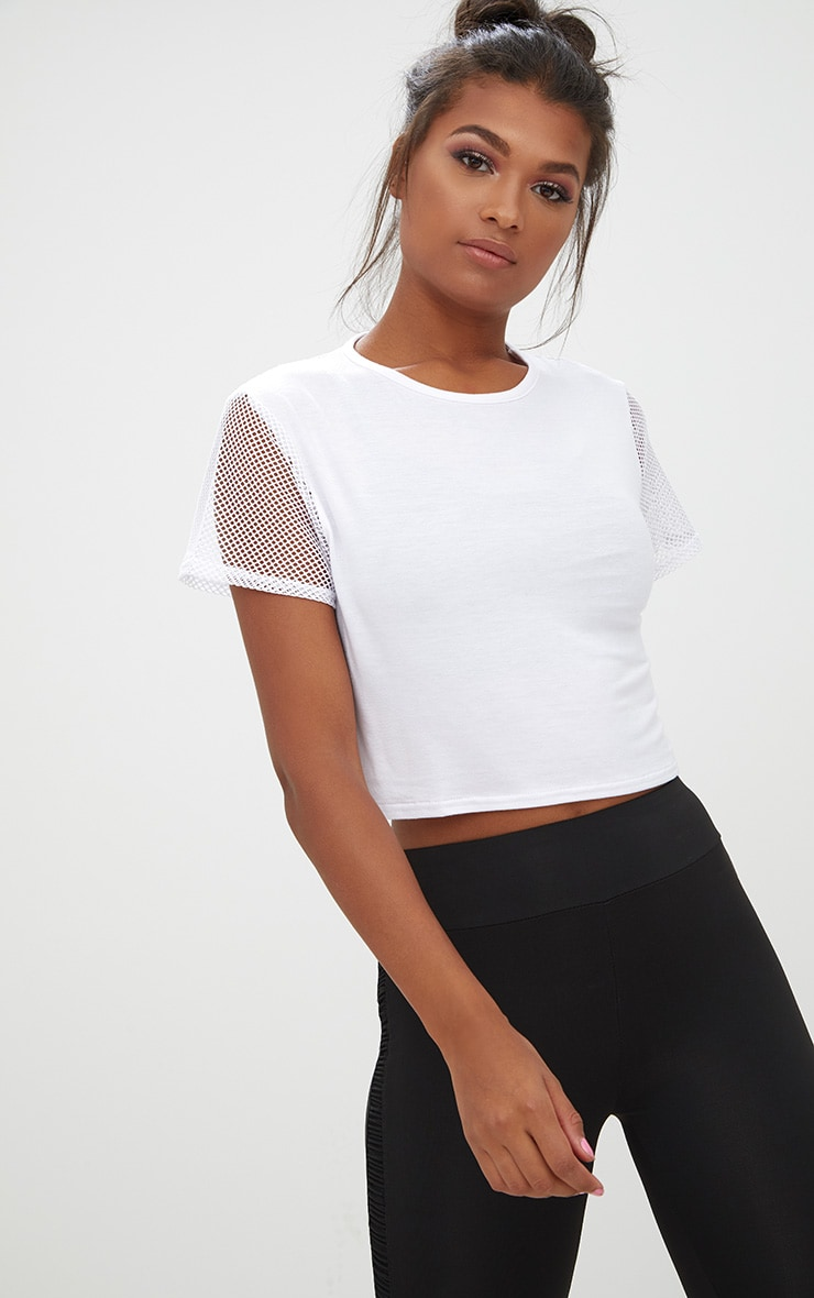 White Fishnet & Jersey Crop Top 3